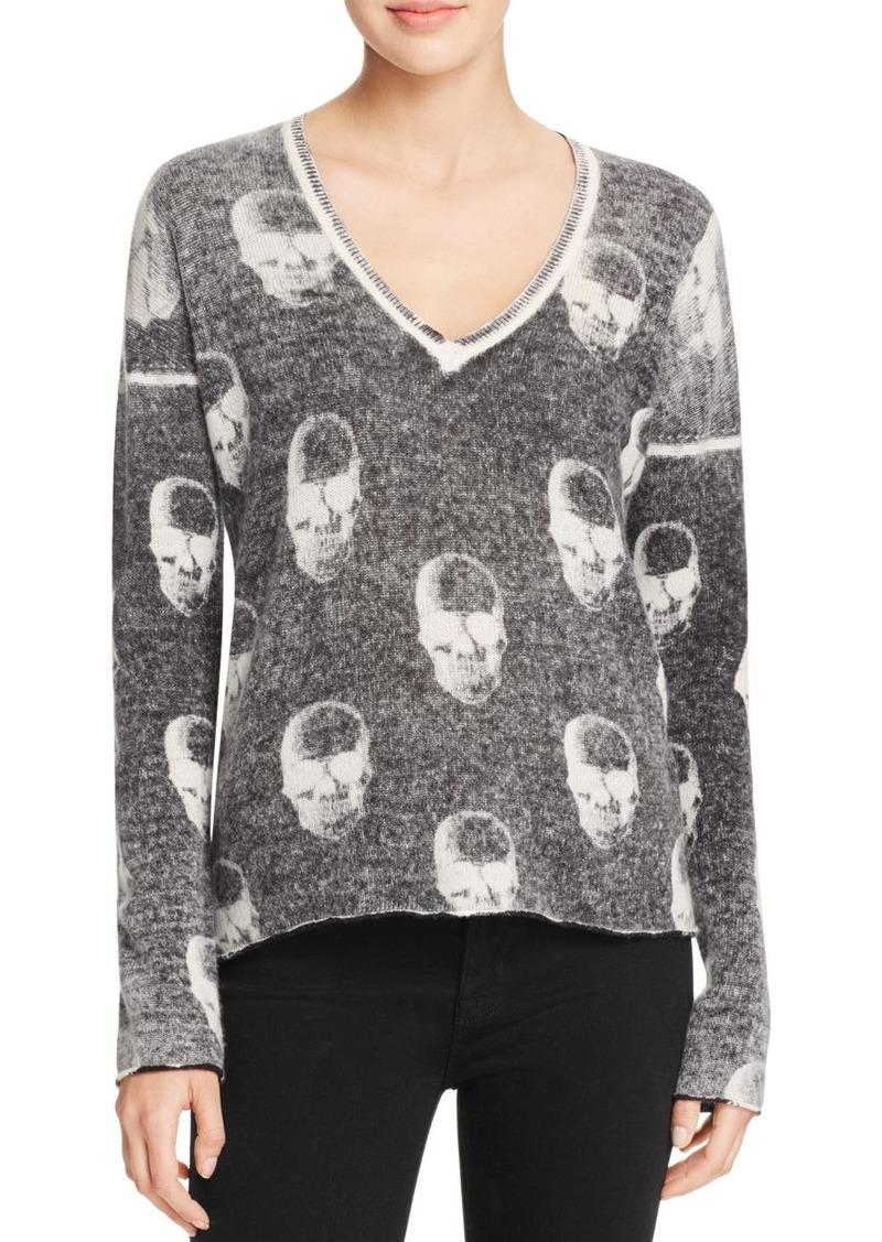 AQUA Cashmere Chaos Skull Cashmere Sweater - 100% Exclusive