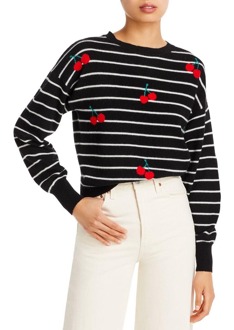 AQUA Cashmere Cherry Striped Sweater - 100% Exclusive