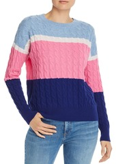 AQUA Cashmere Color-Block Cable-Knit Cashmere Sweater - 100% Exclusive