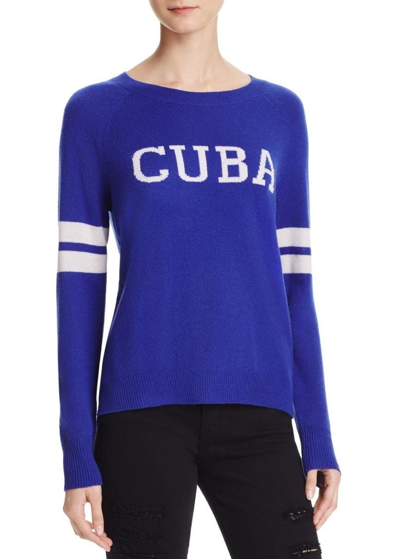 AQUA Cashmere Cuba Crewneck Cashmere Sweater