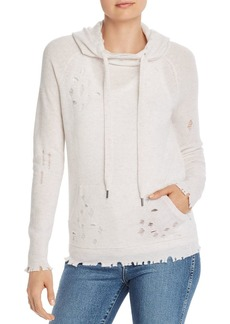 AQUA Cashmere Distressed Cashmere Hooded Sweater - 100% Exclusive