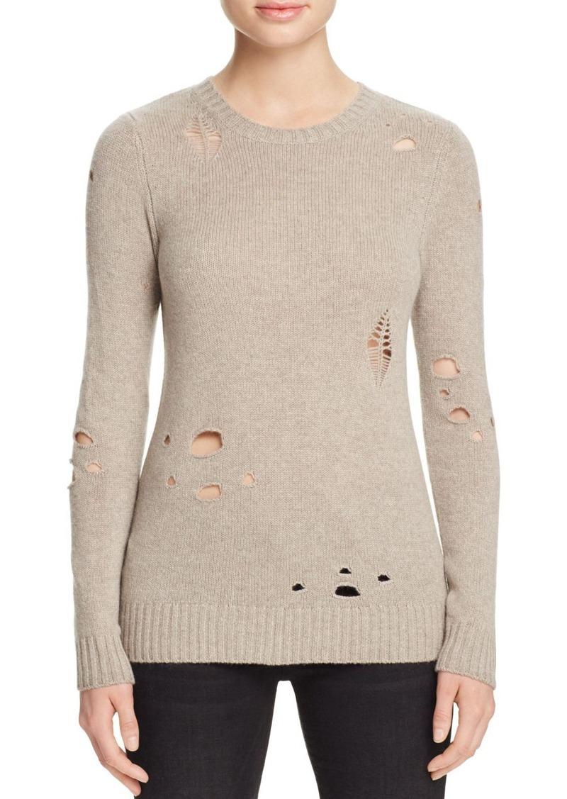 AQUA Cashmere Distressed Crewneck Cashmere Sweater - 100% Exclusive