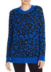 AQUA Cashmere Distressed Leopard Jacquard Cashmere Sweater - 100% Exclusive