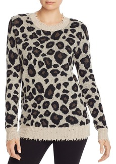 AQUA Cashmere Distressed Leopard Jacquard Cashmere Sweater - 100% Exclusive