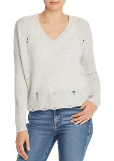 AQUA Cashmere Distressed V-Neck Cashmere Sweater - 100% Exclusive