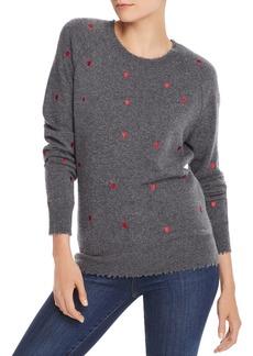 AQUA Cashmere Embroidered Heart Cashmere Sweater - 100% Exclusive