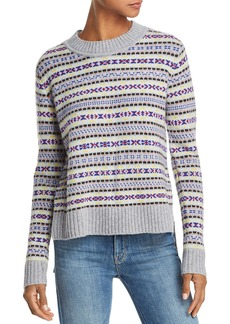 AQUA Cashmere Fair Isle High/Low Cashmere Sweater - 100% Exclusive