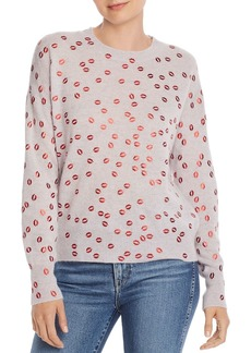 AQUA Cashmere Foil Lips Print Cashmere Sweater - 100% Exclusive
