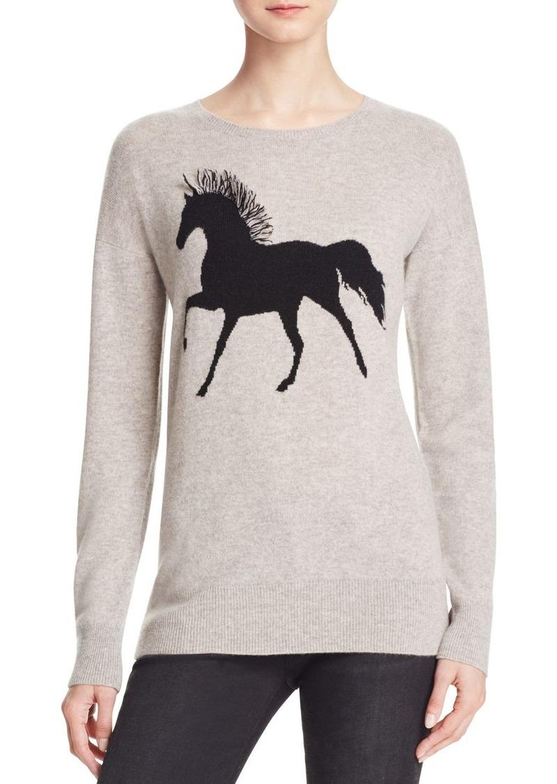 AQUA Cashmere Fringe Horse Intarsia Cashmere Sweater - 100% Exclusive