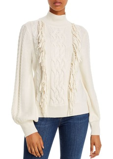 AQUA Cashmere Fringe-Trim Cable-Knit Cashmere Sweater - 100% Exclusive