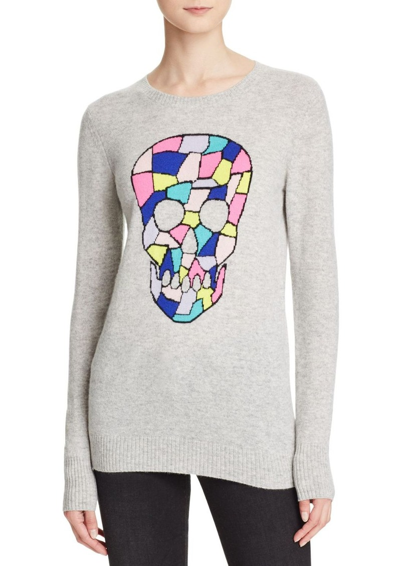 AQUA Cashmere Geo Skull Intarsia Cashmere Sweater