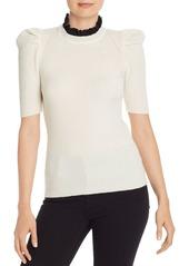 AQUA Cashmere Lace-Trim Puff-Sleeve Cashmere Sweater - 100% Exclusive