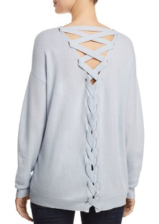 AQUA Cashmere Lace-Up Back Cashmere Sweater - 100% Exclusive