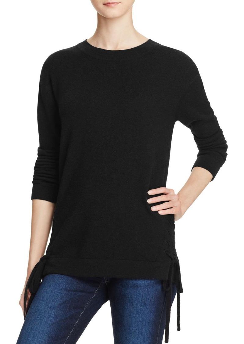 AQUA Cashmere Lace-Up Crewneck Cashmere Sweater - 100% Exclusive