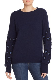 AQUA Cashmere Leopard-Appliqu� Cashmere Sweater - 100% Exclusive
