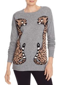 AQUA Cashmere Leopard Intarsia Cashmere Sweater - 100% Exclusive