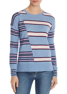 AQUA Cashmere Mixed-Stripe High/Low Cashmere Sweater - 100% Exclusive