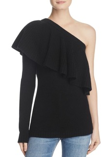 AQUA Cashmere One-Shoulder Ruffle Sweater - 100% Exclusive