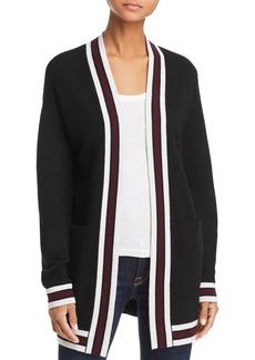 AQUA Cashmere Open-Front Varsity Cashmere Cardigan - 100% Exclusive