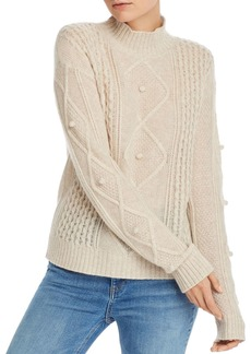 AQUA Cashmere Popcorn Aran-Knit Cashmere Sweater - 100% Exclusive