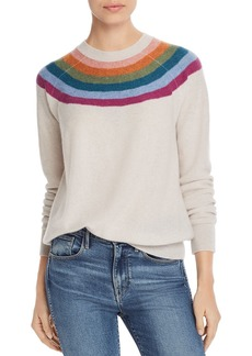 AQUA Cashmere Rainbow-Stripe Cashmere Sweater - 100% Exclusive