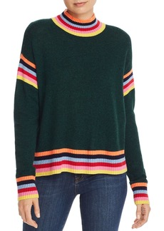 AQUA Cashmere Rainbow-Trim Donegal Cashmere Sweater - 100% Exclusive