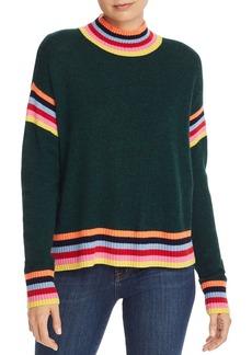 AQUA Cashmere Rainbow-Trim Donegal Cashmere Sweater - 100% Exclusive