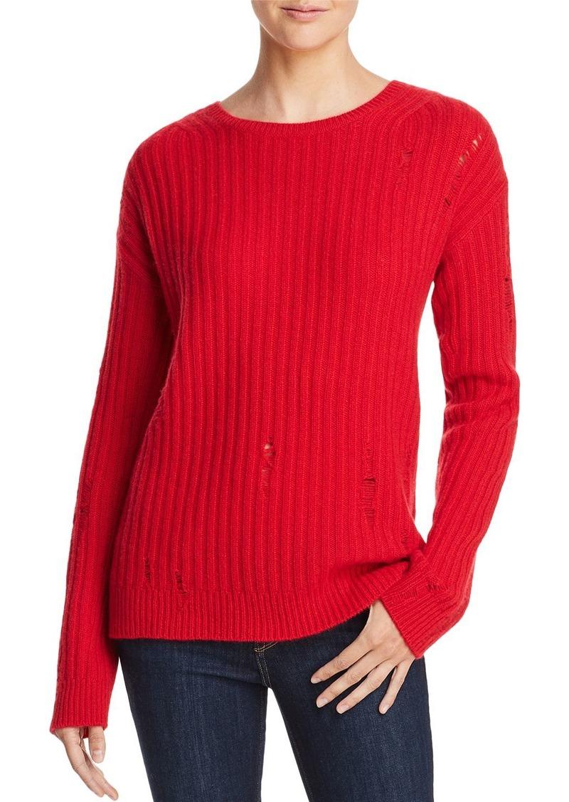 AQUA Cashmere Rib-Knit Distressed Cashmere Sweater - 100% Exclusive