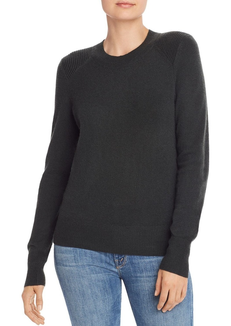 AQUA Cashmere Ribbed-Shoulder Cashmere Sweater - 100% Exclusive