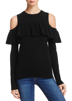 AQUA Cashmere Ruffle Cold Shoulder Sweater - 100% Exclusive