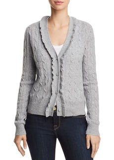AQUA Cashmere Ruffled Cable-Knit Cashmere Cardigan - 100% Exclusive