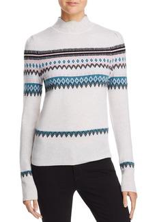 AQUA Cashmere Scalloped Fair Isle Cashmere Sweater - 100% Exclusive