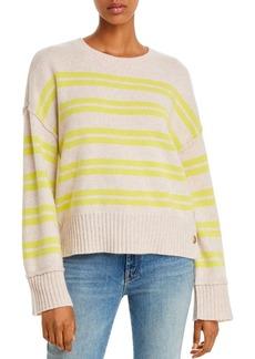 AQUA Cashmere Side-Button Striped Cashmere Sweater - 100% Exclusive