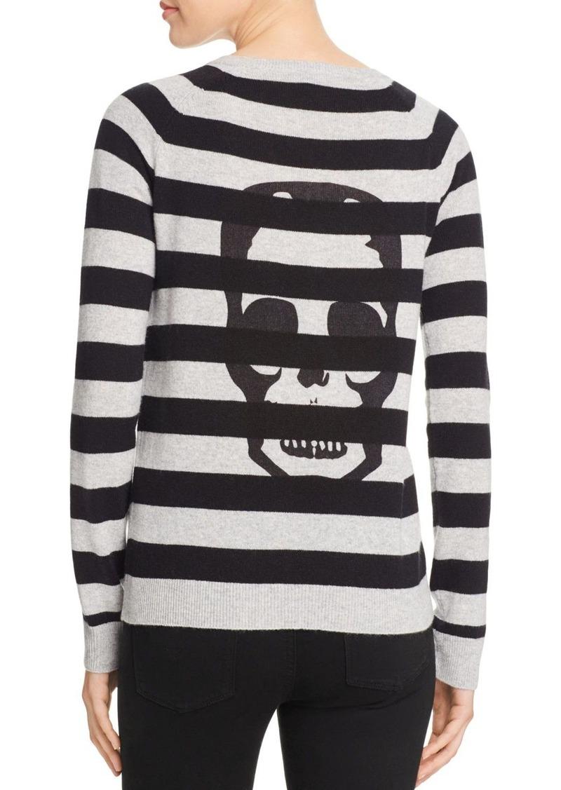 AQUA Cashmere Skull Stripe Cashmere Sweater - 100% Exclusive