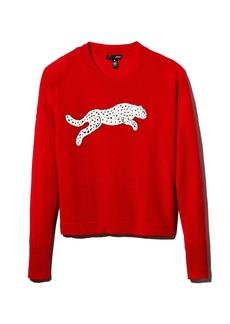 AQUA Cashmere Snow Leopard-Appliqu� Cashmere Sweater - 100% Exclusive