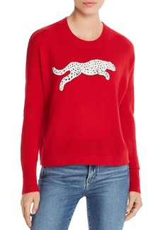 AQUA Cashmere Snow Leopard-Appliqu� Cashmere Sweater - 100% Exclusive