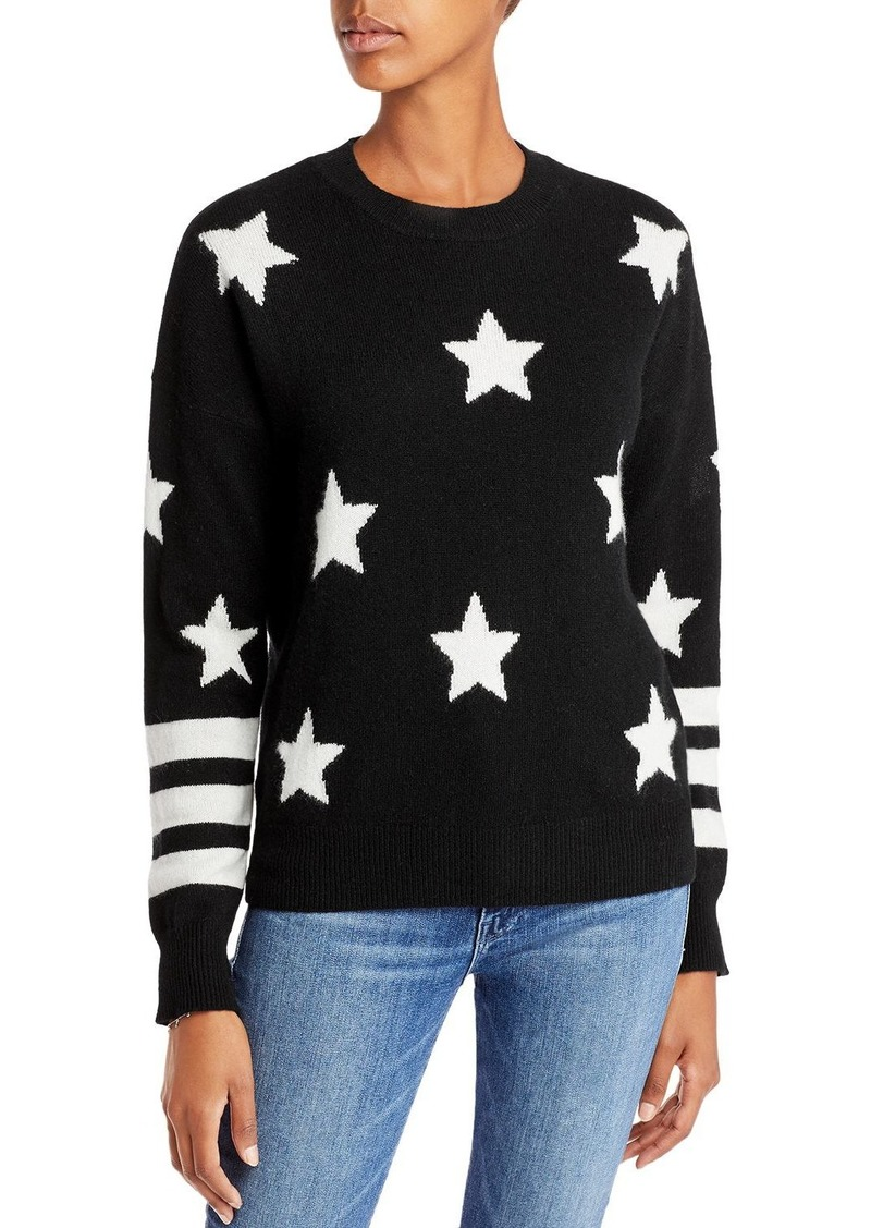 AQUA Cashmere Cashmere Star Sweater With Stripes - 100% Exclusive