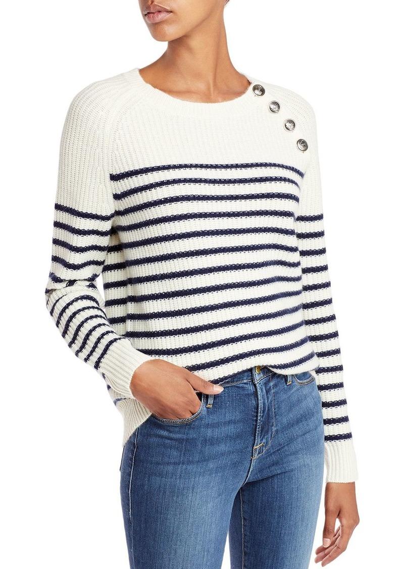 AQUA Cashmere Button Neck Striped Cashmere Crewneck Sweater- 100% Exclusive