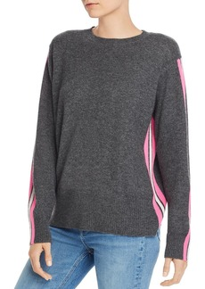 AQUA Cashmere Track-Stripe Cashmere Sweater - 100% Exclusive