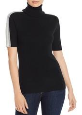 AQUA Cashmere Track-Stripe Cashmere Turtleneck Sweater - 100% Exclusive