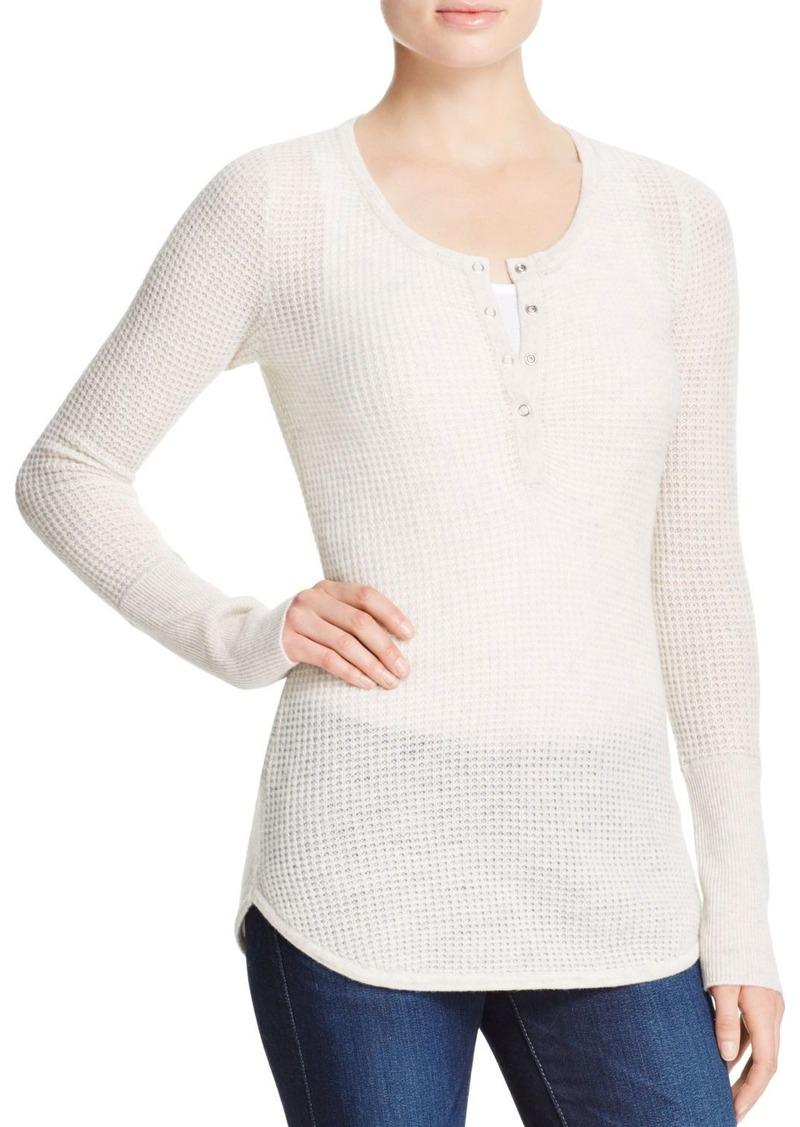 AQUA Cashmere Waffle Knit Henley Cashmere Sweater - 100% Exclusive