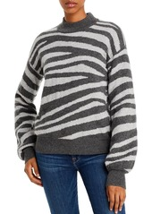 AQUA Cashmere Zebra-Stripe Balloon-Sleeve Cashmere Sweater - 100% Exclusive