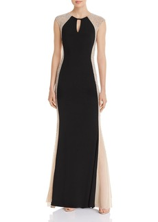 AQUA Caviar Floor-Length Beaded Dress - 100% Exclusive