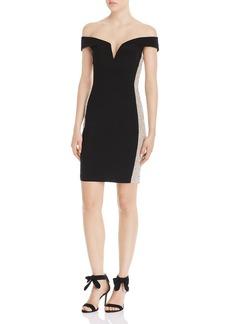 AQUA Caviar Off-the-Shoulder Beaded Mini Dress - 100% Exclusive