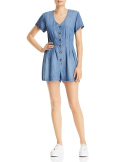 AQUA Chambray Short Sleeve Button Romper - 100% Exclusive