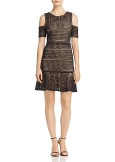AQUA Cold-Shoulder Dot Lace Dress - 100% Exclusive