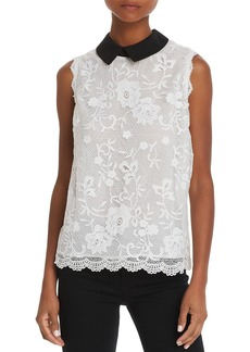 AQUA Collared Sleeveless Lace Top - 100% Exclusive