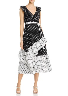 AQUA Color-Block Polka Dot Midi Dress - 100% Exclusive