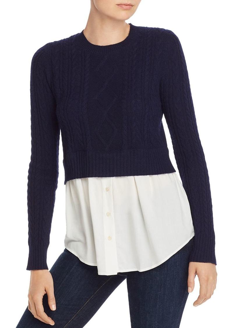 AQUA Contrast-Hem Cashmere Sweater - 100% Exclusive