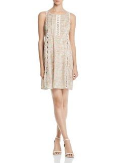 AQUA Crochet-Inset Floral Print Dress - 100% Exclusive